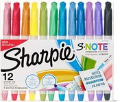 $5.00 Sharpie S-Note Creative Markers, Highlighters, Assorted Colors, Chisel Tip, 12 Count