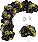 $10.48 Tuoyi 103 Pcs Black and Gold Happy FING Birthday Party Balloons Decorations Garland,DIY B…