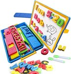 $8.32 Magnetic Letters and Numbers for Kids with Magnetic White Board and Storage Box – ABC Upp…