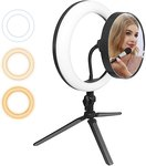 $7.50 LED Ring Light,10in with Tripod Stand for Video and Lighted Makeup Mirror Cell Phone Hold…