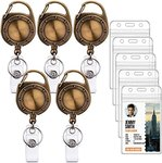 $4.00 Ktrio 5 Pack Badge Holders with Badge Reels Retractable, Clear Plastic ID Card Badge Hold…