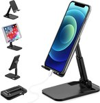 $3.98 Cell Phone Stand, AOCOAKW Foldable & Adjustable Tablet Stand, Compact iPad Stand Holder f…