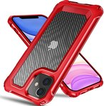 $3.50 Tuerdan iPhone 11 Case, [Military Grade Shockproof] [Hard Carbon Fiber Back] [Soft TPU Bu…