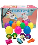 $9.00 INFUN 24 PCS Easter Eggs, Bright Colorful Surprise Plastic Easter Eggs with Various Surpr…