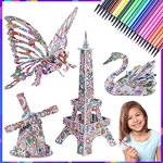 $5.99 MIU COLOR 4 Pack 3D Puzzle Set with 24 Coloring Pen Markers, Fun Coloring Painting Animal…