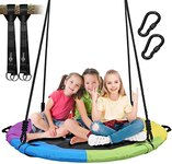 $56.49 Trekassy 700lb Saucer Tree Swing for Kids Adults 40 InchTextliene Waterproof Frame Includ…