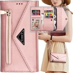 $4.49 Galaxy Note 20 Wallet Case with Crossbody Strap for Women,Auker Folio Flip Leather 9 Card…
