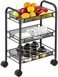 $17.32 3-Tier Mesh Wire Rolling Cart Multifunction Utility Cart Rolling Metal Organization Cart …