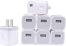 $7.70 Charger Block, Charging Brick for iPhone, USB Cubes, NonoUV 8-Pack Single Port USB Plug i…