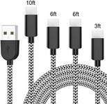 $6.89 USB C Cable Fast Charging, Riksion 4 Pack (3/6/6/10FT) Nylon Braided USB c to USB a Charg…