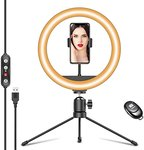 "$6.60 10.2"" Desk Selfie Ring Light with Tripod Stand & Phone Holder, Dimmable LED Light for Lap…"