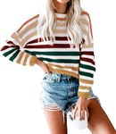 $11.89 KIRUNDO Women   s Stripe Color Block Short Sweater Long Sleeves Stitching Color Round Nec…