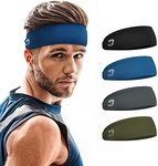 $4.47 Vinsguir Sports Headbands for Men (4 Pack) – Lightweight Mens Headband Sweat Band, Moistu…