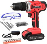 $29.09 GardenJoy 21V Max Power Cordless Drill Electric Impact Driver/Drill Kit with 2 Variable S…