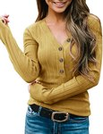 $14.44 MEROKEETY Women's Long Sleeve V Neck Ribbed Button Knit Sweater Solid Color Tops