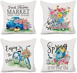 $5.00 Hexagram Spring Pillow Covers 18 x 18 Set of 4 Farmhouse Decorative Fresh Flowers Blue Tr…