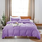 $4.06 Uhsupris Purple Duvet Covers Twin Size,3 Pieces Solid Color Bedding Set,100% Washed Micro…