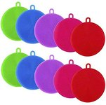 $2.50 Apipi 10pcs Silicone Dish Sponges- Silicone Dish Scrubber for Dishes Fruit Vegetable Clea…