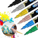 $3.49 Acrylic Paint Pens for Rock Painting Kit, Glass,Craft,Ceramic, Stone,Fabric,Wood, Eyeleaf…