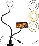 $1.99 GOIGOIHP USB Selfie Ring Light with Cell Phone Holder Stand for Live Stream/Makeup, Clip …