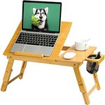 $15.85 HUANUO Lap Desk- Fits up to 15.6 Inch Laptop Desk, Foldable Bed Tray Breakfast Table with…