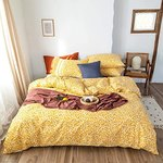 $14.10 VClife Yellow Floral Bedding Sets Twin Cotton Duvet Cover Sets, White Flowers Printed on …