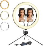 "$7.20 New 12"" LED Ring Light with Tripod Stand and Double Phone Holders,Desktop Ring Lamp Has 3…"