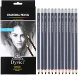 $2.50 Dyvicl Professional Charcoal Pencils Drawing Set – 12 Pieces Soft Medium Hard Charcoal Pe…