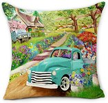 $3.80 Hexagram Farmhouse Spring Pillow Covers 18×18 Inch Blue Truck with Fresh Spring Flowers D…