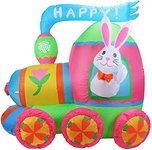 $9.99 Vigdur 4 ft Easter Inflatable Party Bunny on Colorful Train Yard Blow Up Decoration for G…